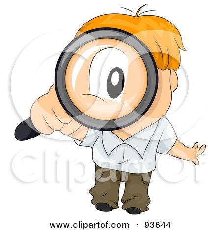 Royalty-Free (RF) Clipart Illustration of a Little Boy Peering Up Through A Magnifying Glass by BNP Design Studio
