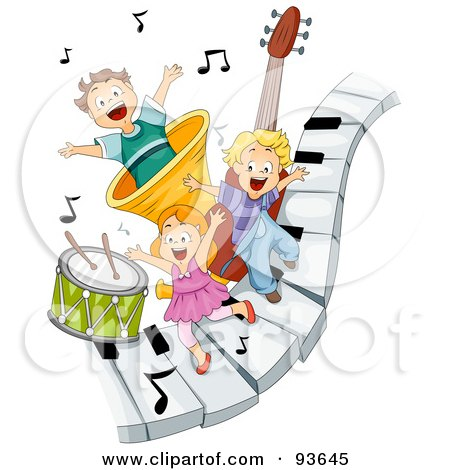 Royalty-Free (RF) Clipart Illustration of Three Happy Kids On Piano Keys With Music Notes And Instruments by BNP Design Studio