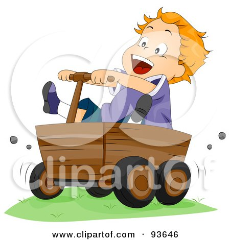 Royalty-Free (RF) Clipart Illustration of a Boy Riding In A Wooden Cart by BNP Design Studio