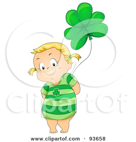 Royalty-Free (RF) Clipart Illustration of a Cute Little Girl Wearing A Green Dress And Standing With A Clover Balloon by BNP Design Studio