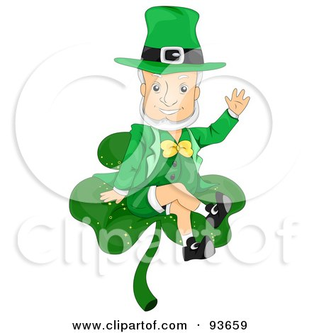 Friendly Leprechaun Waving And Sitting On A Clover Posters, Art Prints