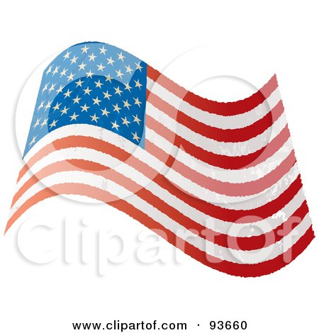 Royalty-Free (RF) Clipart Illustration of a Grungy Distressed Wavy USA Flag by michaeltravers