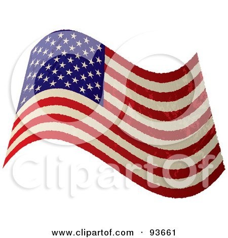Royalty-Free (RF) Clipart Illustration of a Grungy Distressed Waving USA Flag by michaeltravers