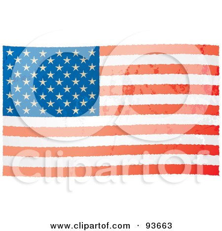 Royalty-Free (RF) Clipart Illustration of a Distressed Aged USA Flag by michaeltravers