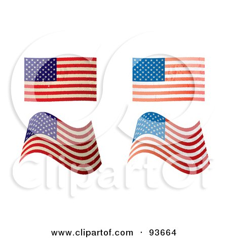 Royalty-Free (RF) Clipart Illustration of a Digital Collage Of Four Distressed And Faded USA Flags by michaeltravers