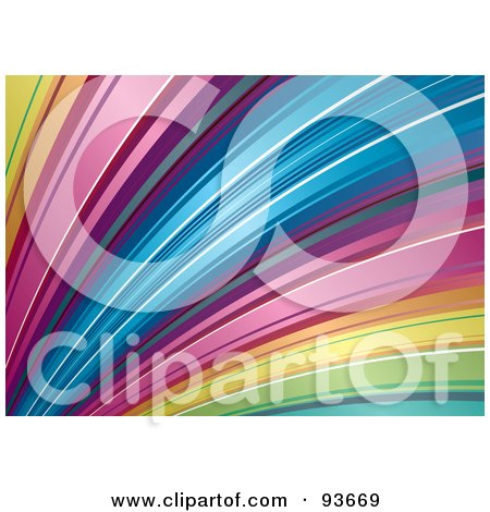 Royalty-Free (RF) Clipart Illustration of a Fanned Rainbow Curve Background by michaeltravers