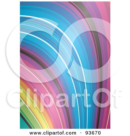 Royalty-Free (RF) Clipart Illustration of a Falling Rainbow Background by michaeltravers