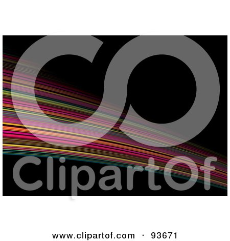 Royalty-Free (RF) Clipart Illustration of a Swoosh Of Rainbow Stripes Over Black by michaeltravers