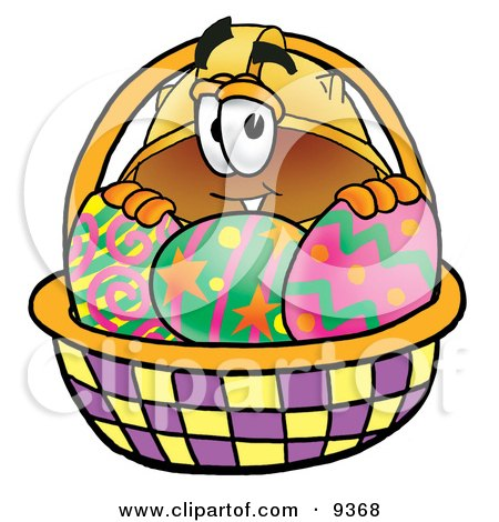 Clipart Picture of a Hard Hat Mascot Cartoon Character in an Easter Basket Full of Decorated Easter Eggs by Toons4Biz