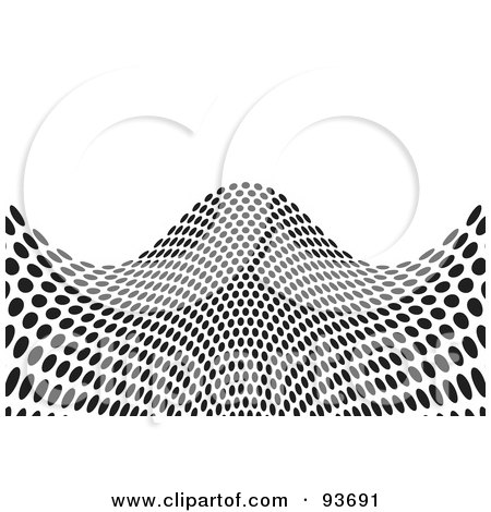 Royalty-Free (RF) Clipart Illustration of a Black And White Background With A Wave Of Halftone Dots And A Bulge by michaeltravers