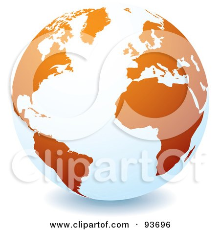 Royalty-Free (RF) Clipart Illustration of a White Globe With Orange Continents, Centered On The Atlantic by michaeltravers