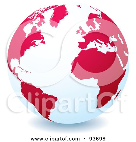 Royalty-Free (RF) Clipart Illustration of a White Globe With Red Or Pink Continents, Centered On The Atlantic by michaeltravers