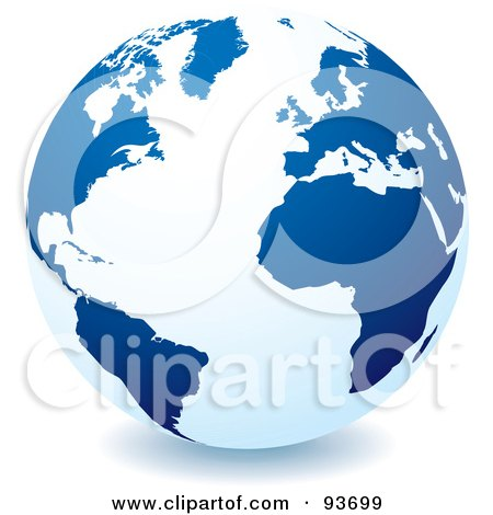 Royalty-Free (RF) Clipart Illustration of a White Globe With Dark Blue Continents, Centered On The Atlantic by michaeltravers