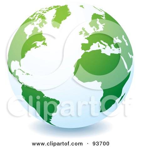 Royalty-Free (RF) Clipart Illustration of a White Globe With Green Continents, Centered On The Atlantic by michaeltravers