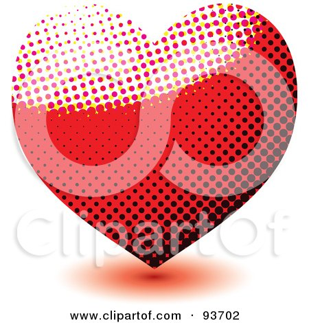 Royalty-Free (RF) Clipart Illustration of a Red And Black Heart Made Of Halftone Dots by michaeltravers