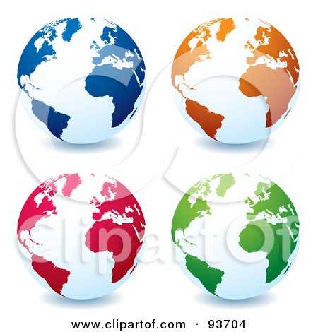 Royalty-Free (RF) Clipart Illustration of a Digital Collage Of White Globes With Blue, Orange, Red And Green Continents, Centered On The Atlantic by michaeltravers