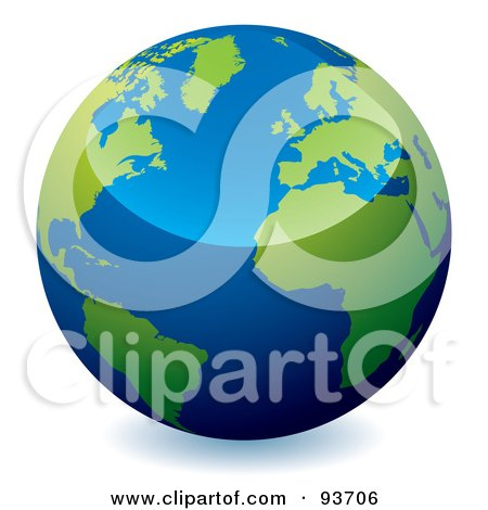 Royalty-Free (RF) Clipart Illustration of a Reflective Blue Globe With Green Continents, Centered On The Atlantic by michaeltravers