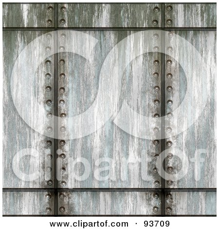Royalty-Free (RF) Clipart Illustration of Vertical Lines Of Rivets Through Metal by Arena Creative