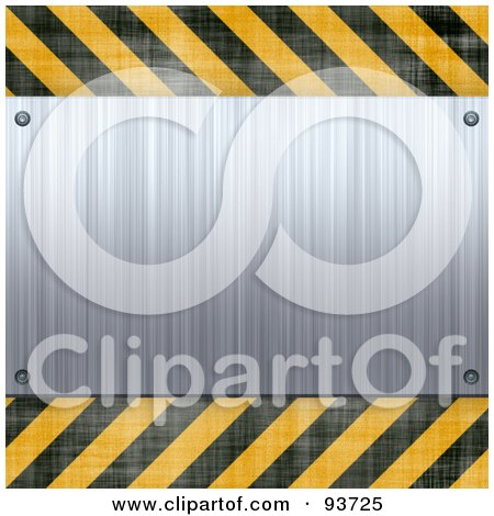 Royalty-Free (RF) Clipart Illustration of a Blank Brushed Metal Plaque Over Yellow And Black Hazard Stripes by Arena Creative