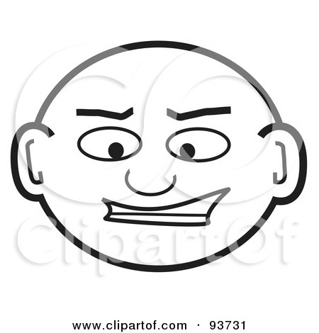 Royalty-Free Clipart Illustration Of A Grinning Bald Man's Head by Arena Creative
