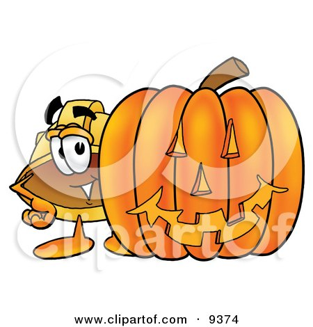 Clipart Picture of a Hard Hat Mascot Cartoon Character With a Carved Halloween Pumpkin by Toons4Biz