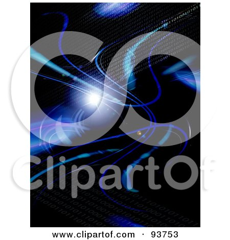 Royalty-Free Clipart Illustration Of A Black Background With Blue Fractal Swooshes And Binary Coding by Arena Creative