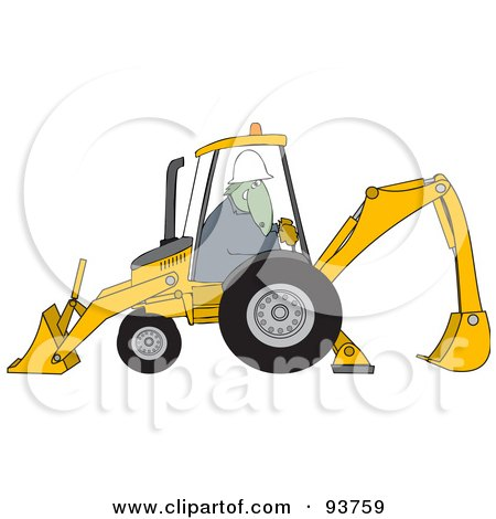 Construction Dinosaur Operating A Yellow Backhoe Posters, Art Prints