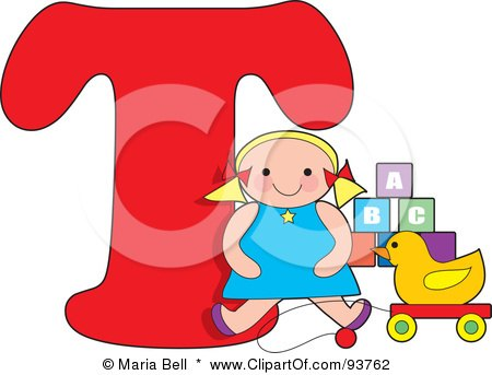 Royalty-Free (RF) Clipart Illustration of a T Is For Toys Learn The Alphabet Scene by Maria Bell