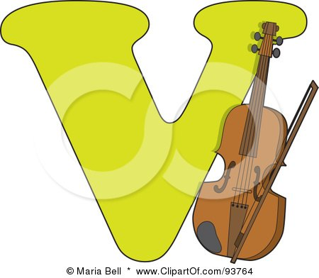 Royalty-Free (RF) Clipart Illustration of a V Is For Violin Learn The Alphabet Scene by Maria Bell