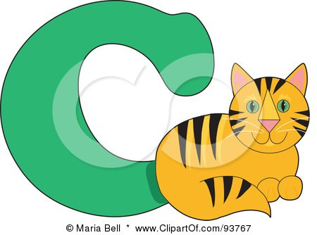 Royalty-Free (RF) Clipart Illustration of a C Is For Cat Learn The Alphabet Scene by Maria Bell
