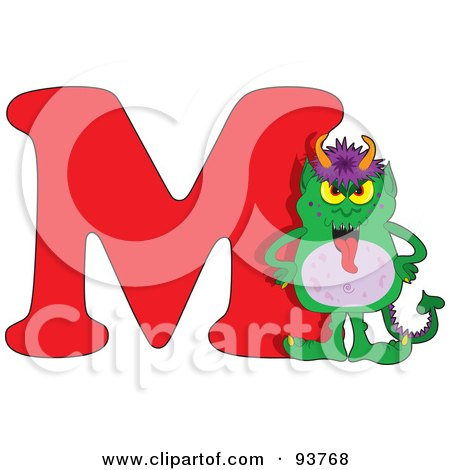Royalty-Free (RF) Clipart Illustration of a M Is For Monster Learn The Alphabet Scene by Maria Bell