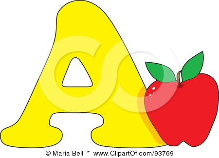 Royalty-Free (RF) Clipart Illustration of an A Is For Apple Learn The Alphabet Scene by Maria Bell