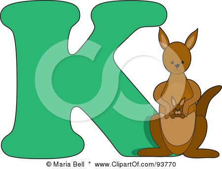 Royalty-Free (RF) Clipart Illustration of a K Is For Kangaroo Learn The Alphabet Scene by Maria Bell