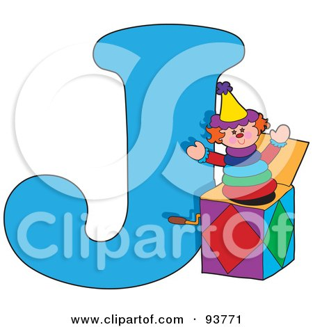 Royalty-Free (RF) Clipart Illustration of a J Is For Jack In The Box Learn The Alphabet Scene by Maria Bell