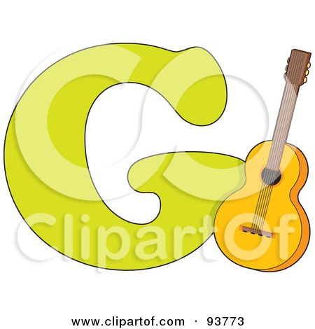 Royalty-Free (RF) Clipart Illustration of a G Is For Guitar Learn The Alphabet Scene by Maria Bell