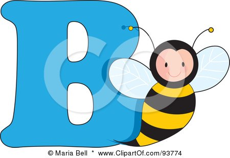Royalty-Free (RF) Clipart Illustration of a B Is For Bee Learn The Alphabet Scene by Maria Bell