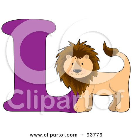 Royalty-Free (RF) Clipart Illustration of a L Is For Lion Learn The Alphabet Scene by Maria Bell