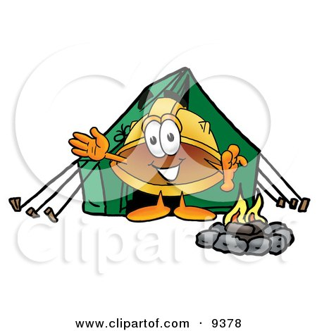 Clipart Picture of a Hard Hat Mascot Cartoon Character Camping With a Tent and Fire by Toons4Biz