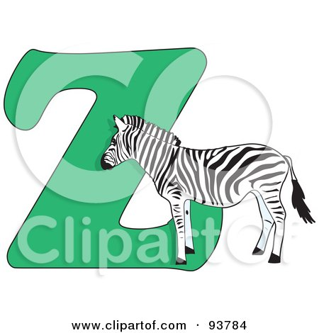 Royalty-Free (RF) Clipart Illustration of a Z Is For Zebra Learn The Alphabet Scene by Maria Bell