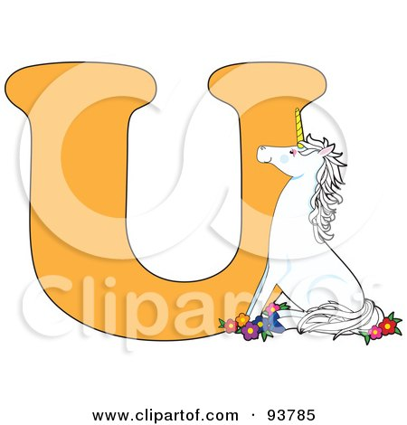 Royalty-Free (RF) Clipart Illustration of a U Is For Unicorn Learn The Alphabet Scene by Maria Bell