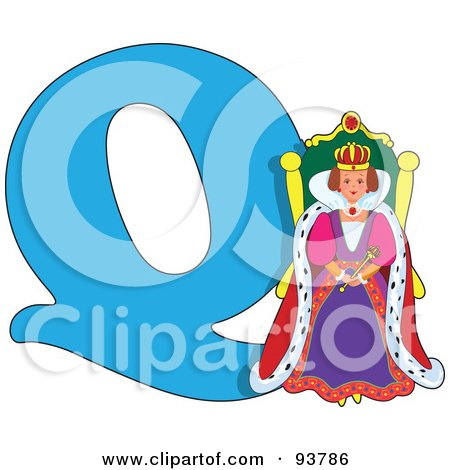 Royalty-Free (RF) Clipart Illustration of a Q Is For Queen Learn The Alphabet Scene by Maria Bell