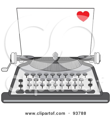 Royalty-Free (RF) Clipart Illustration of a Blank Piece Of Paper In A Vintage Typewriter, A Little Red Heart In The Corner by Maria Bell