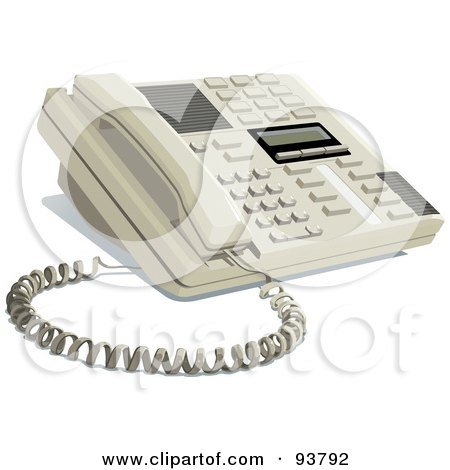 Royalty-Free (RF) Clipart Illustration of a Modern Office Telephone Resting On A Desk by yayayoyo