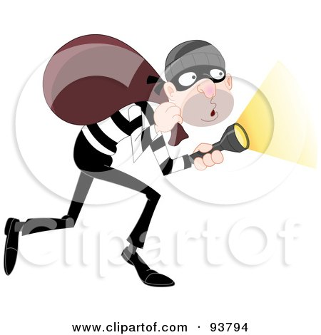 Tip Toeing Robber Pointing A Flashlight And Carrying A Bag On His Shoulders Posters, Art Prints