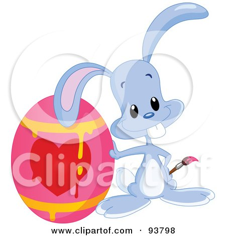 Royalty-Free (RF) Clipart Illustration of a Cute Blue Easter Bunny By A Dripping Heart Easter Egg by yayayoyo
