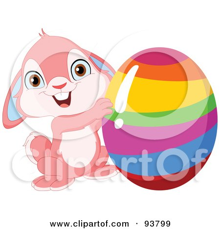 Royalty-Free (RF) Clipart Illustration of a Cute Pink Easter Bunny Holding Up A Rainbow Striped Easter Egg by yayayoyo