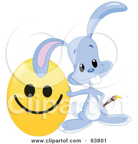 Royalty-Free (RF) Clipart Illustration of a Cute Blue Easter Bunny Leaning On A Happy Face Easter Egg by yayayoyo