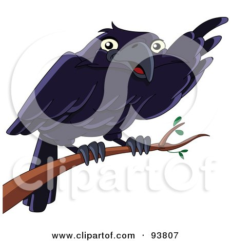 Royalty-Free (RF) Clipart Illustration of a Cute Raven Bird Pointing With His Wing While Perched On A Branch by yayayoyo