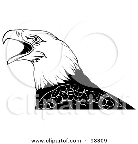 Royalty-Free (RF) Clipart Illustration of a Black And White Bald Eagle Squaking by dero