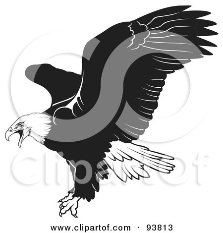 Royalty-Free (RF) Clipart Illustration of a Black And White Bald Eagle In Flight - 1 by dero